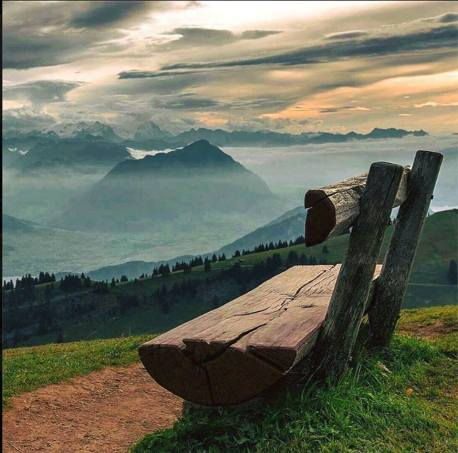 bench and mountains