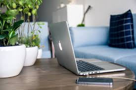 laptop on coffee table